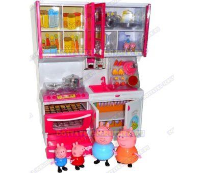 Игровой набор кухня Свинки Пеппы №1 (со звуком и светом). +4 фигурки.