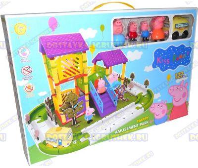 Большая игровая площадка Свинки Пеппы с игровым комплексом. +4 фигурки и машинка.