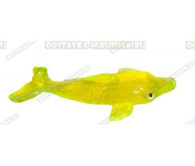 Лизун гелевый большой 'Дельфин' желтый. 14см.