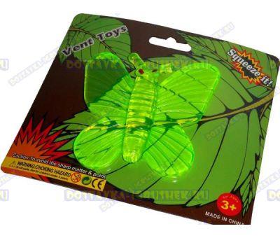 Лизун Vent Toys 'Бабочка' зелёный,гелевый ~9,5см.