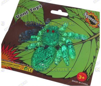 Лизун Vent Toys 'Паук' темно-зеленый, гелевый ~9,5см.