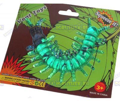 Лизун Vent Toys 'Многоножка' темно-зеленый, гелевый ~15,5см.