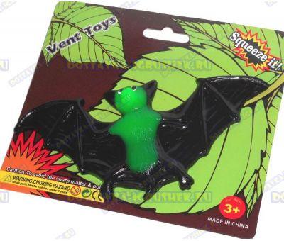 Лизун Vent Toys 'Летучая мышка' черно-зеленый, ~13,5см.