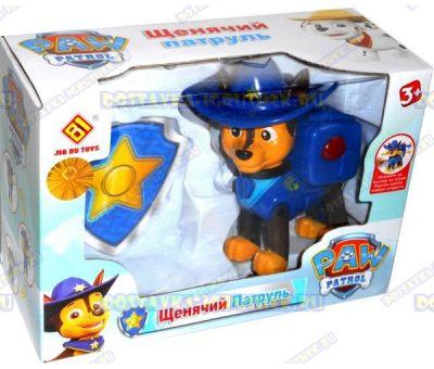 Щенячий патруль' Чейз в шляпе +значок. 8-10см. Новая серия. (пластик).