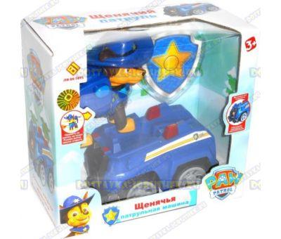 Набор 'Щенячий патруль Чейз в шляпе' Фигурка, машина +значок (пластик).