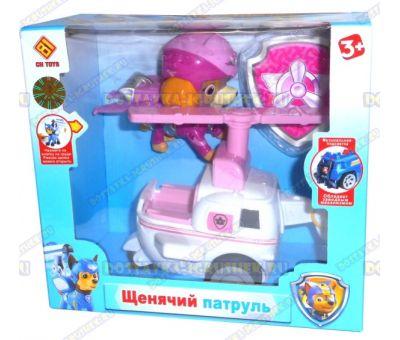 Набор 'Летающий патруль' щенок Скай. Фигурка, машина +значок (пластик).
