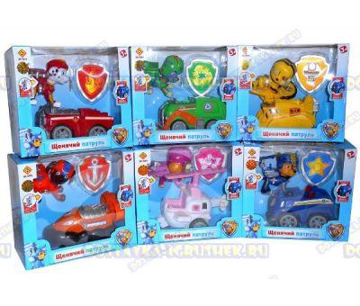 Набор 'Летающий патруль' 6 героев. Фигурки, машины и значки (пластик).