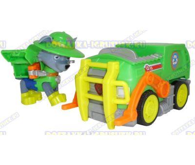 Набор 'Щенячий патруль Рокки, джунгли ~8см.' Фигурка, машина +значок (пластик).