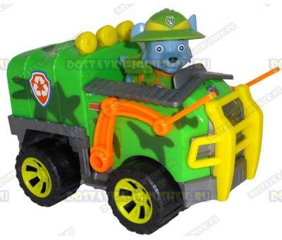 Набор 'Щенячий патруль Рокки, джунгли ~6см.' Фигурка, машина +значок (пластик).