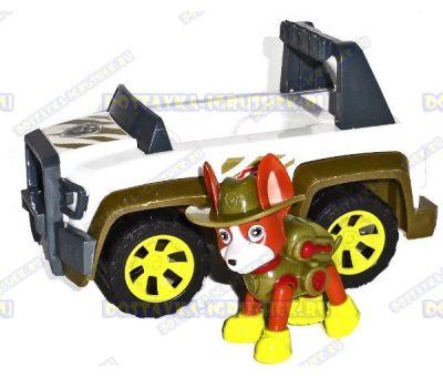 Набор 'Щенячий патруль Трекер, джунгли ~6см.' Фигурка, машина +значок (пластик).