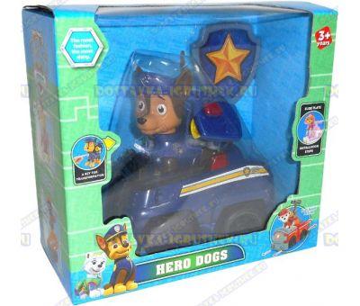 Набор 'Щенячий патруль Чейз, 2-ое поколение (HERO DOGS)' Фигурка, машина +значок (пластик).