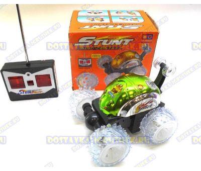 Машина-перевёртыш радиоуправляемая 'STUNT' светящаяся, зеленая. +батарейки в подарок!
