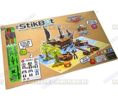 Набор Stikbot 'Пиратский корабль' (корабль, фигурка, аксессуары, оружие) +наклейки.