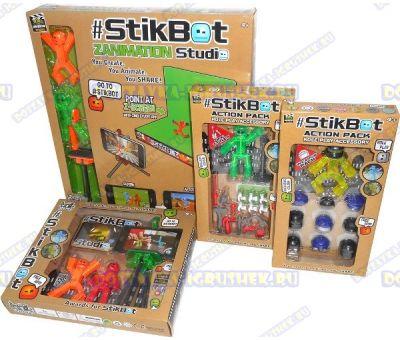 Набор стикбот (Stikbot) киностудия (штативы, сцена, аксессуары) +6 фигурок.