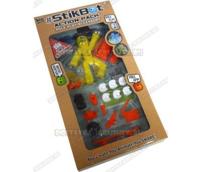 Стикбот (Stikbot) аксессуары (скейт, камера, сотовый и т.д.) +фигурка.