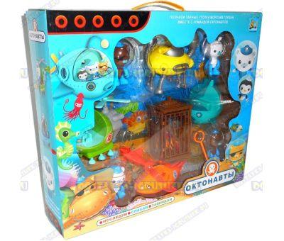 Набор 'Команда Октонавтов' 4 героя, 4 машины + акула, клетка и сокровища (монеты)!