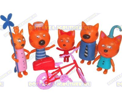 "Набор ""Три кота. 5 фигурок и велосипед"""