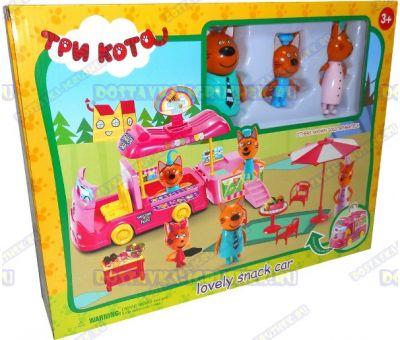 """Набор """"Три кота КЕМПИНГ"""" автобус-трансформер, 3 фигурки и мебель"""